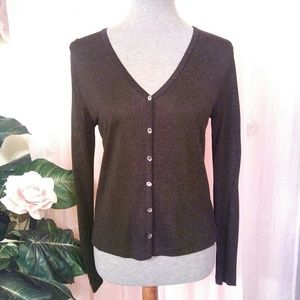 Ann Taylor Sparkly Button Front Top